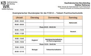exemplarischer Stundenplan der FOS12b Teilzeit